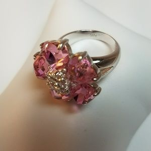 Jewelry - .925 STERLING Silver Pink Ice CZ Flower Ring 7